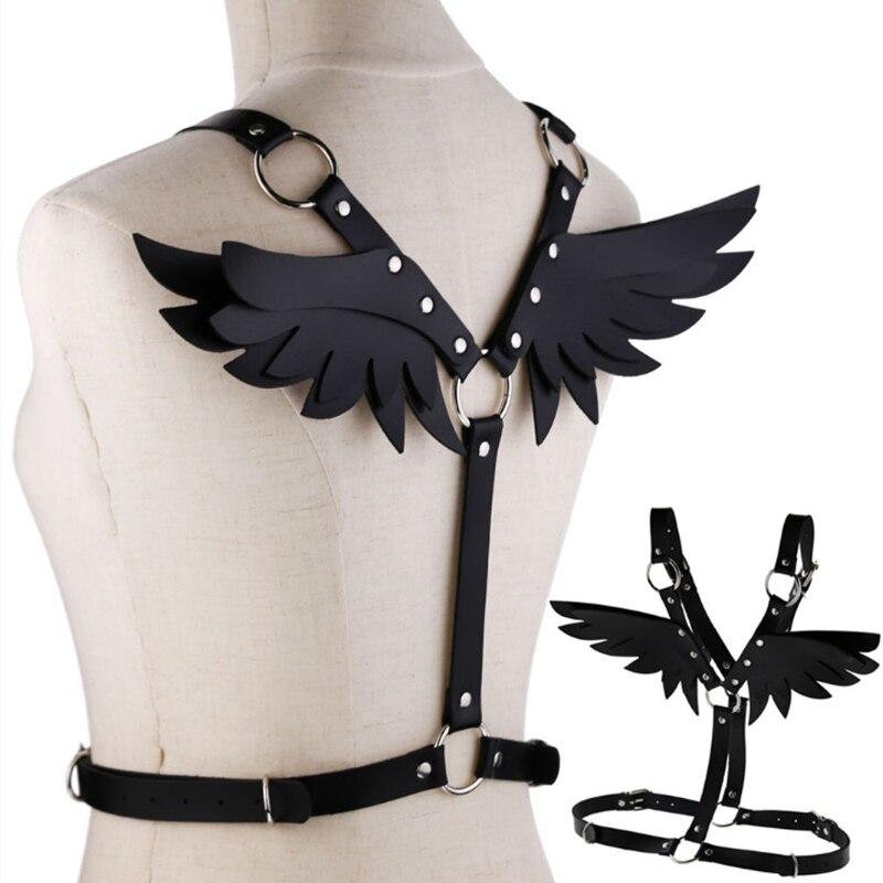 Sexy Engel Flügel Leder Harness Käfig Bh Gürtel Dessous Fetisch Schwarz Körper Sexy Tops Caged Bralette Punk Goth Dance Unterwäsche