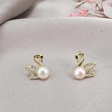 Fashion Chic Korean Natural Pearl Stud Earrings Trendy for Women Girls Cute Swan Child Petite Boucle Doreille Ohrringe