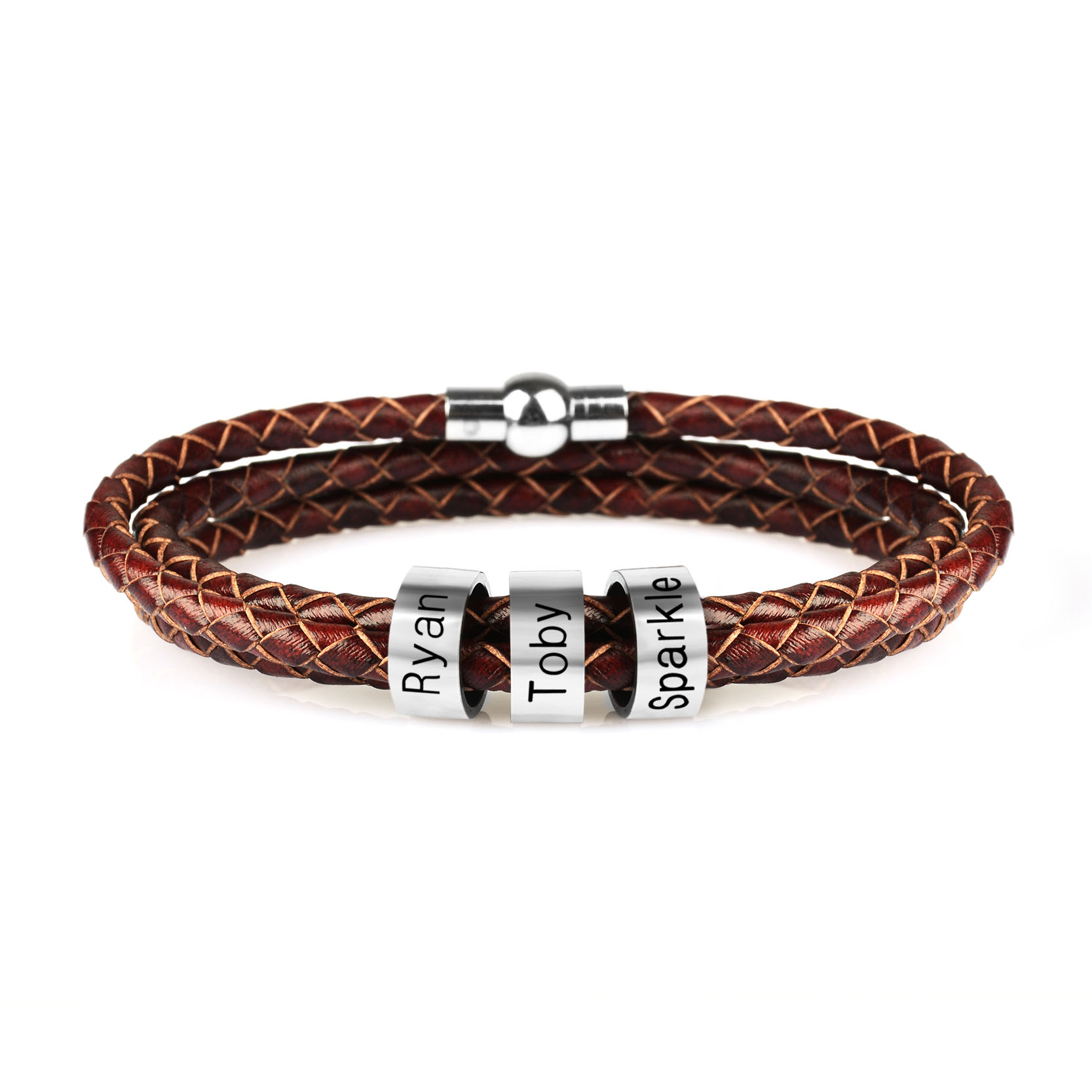 Personalized Mens Braided Genuine Leather Bracelet Stainless Steel Custom Beads Name Bracelet for Men with Family Names KZXL0418