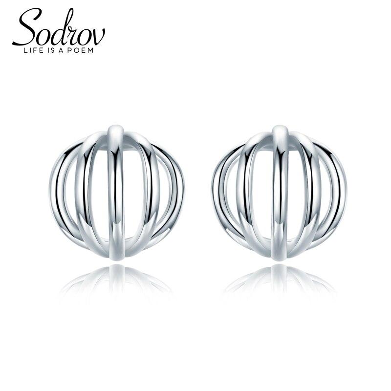 Sodrov 925 Sterling Silver Stud earring for Women Geometric Pattern Fashion Jewelry HE033