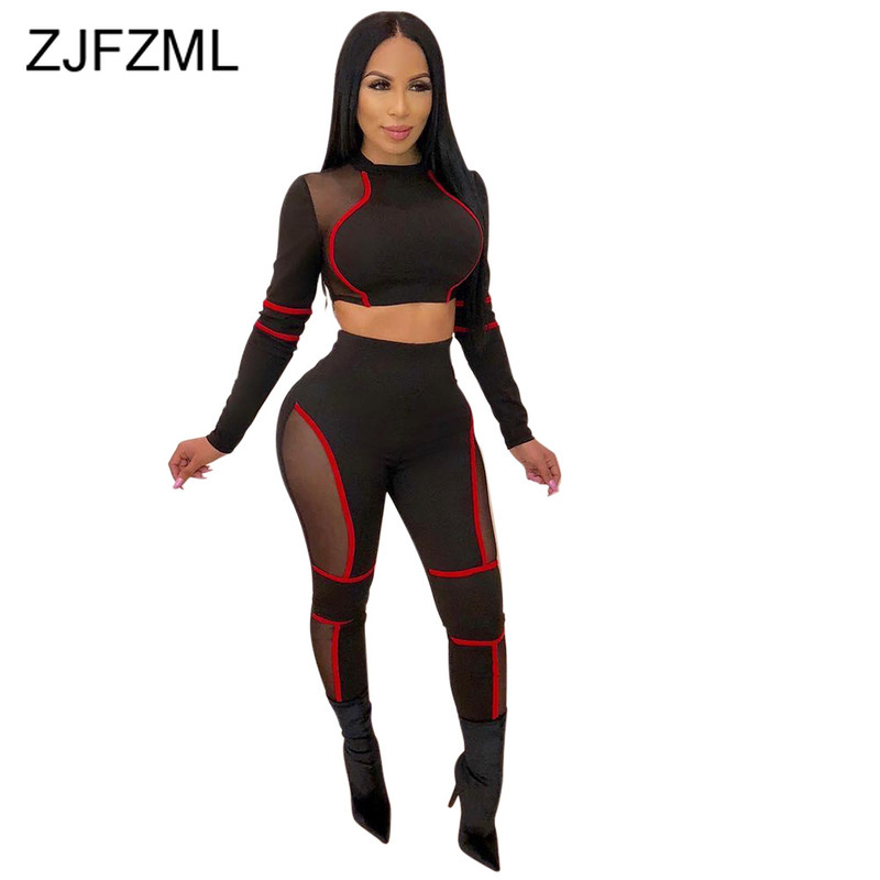 Striped Mesh Splice Sexy Two Piece Set Sweatsuits Women O Neck Long Sleeve Crop Tops + Bodycon Pencil Pants Fitness 2 Piece Set