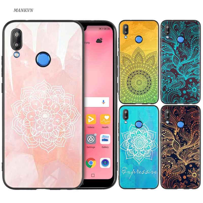 Black Silicone Case Bag Cover for Huawei P30 P20 P10 P9 Mate 10 20 30 Note 5 5i Lite Pro P Smart Z 2019 Shell Cute mandala chakr