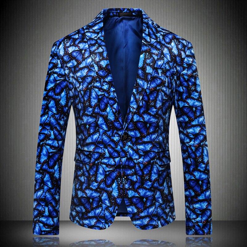 Bleu hommes costume veste nouvelle marée hommes mode imprimé Blazer Masculino Slim Fit Blazer Masculino mariage vestes hommes formel veste hommes