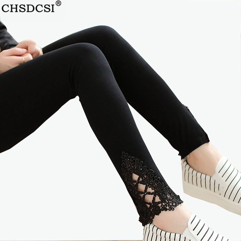 CHSDCSI Legging Lace Diamond Print Flower Thin Mid Waist Pants Summer Thin Women Cotton Leggings Hollow Out Blace White Trousers