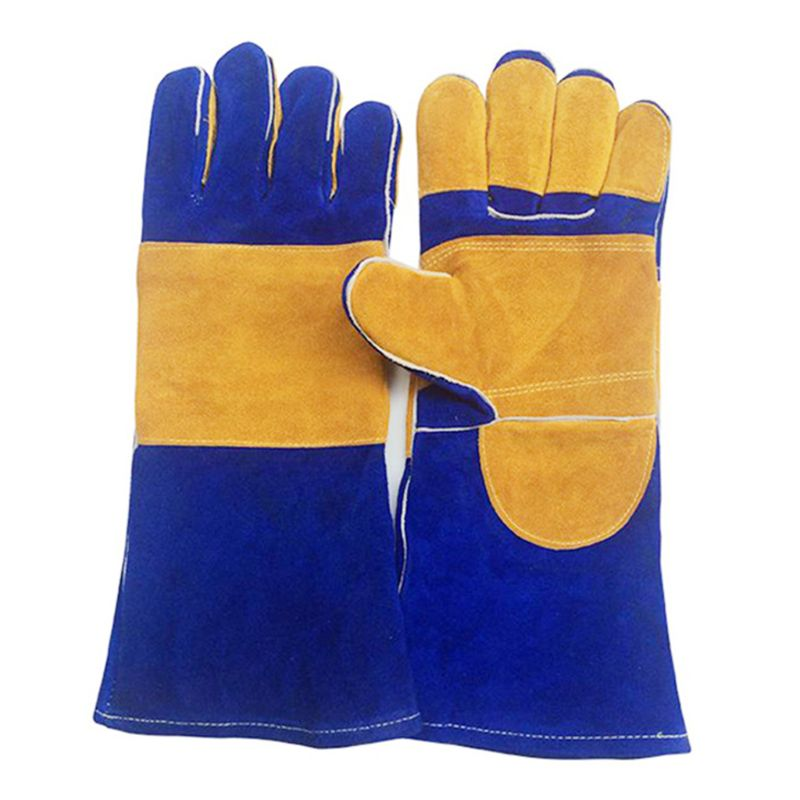 Labour Protection Glove Non-slip Wear Leather Forge Welding Gloves Heat/Fire/High Temperature Resistance Extra Long Sleeve