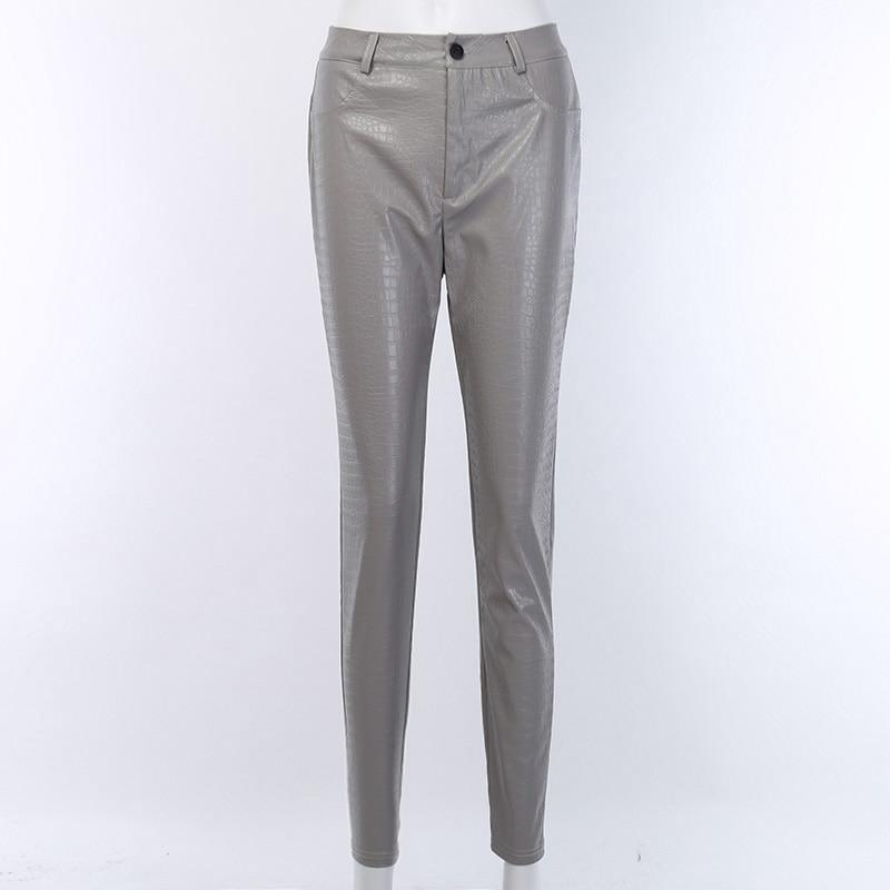 InstaHot Black High Waist Pencil Faux Leather Pants Women Casual Elegant Carving Print Ankle Length Pants Streetwear Trousers 53