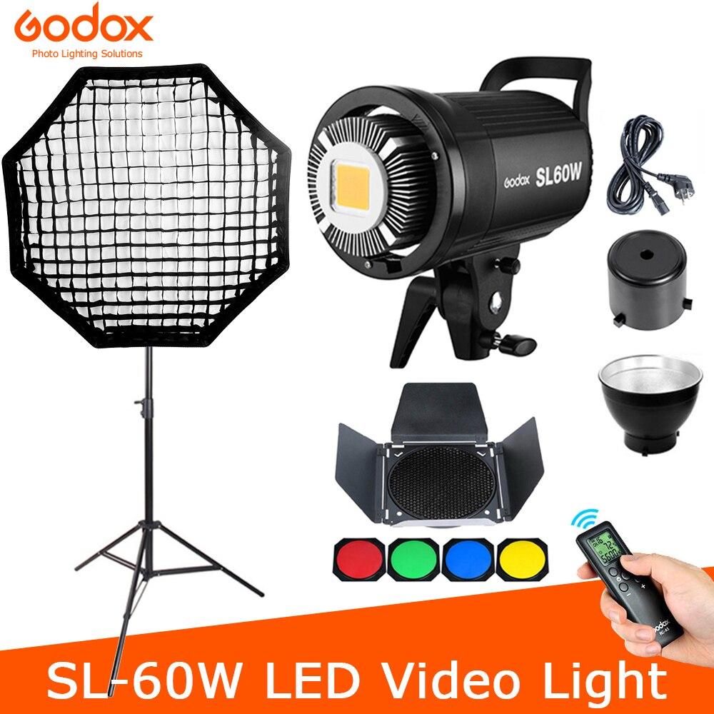 Студийный осветитель Godox SL60W для видеосъемки, светильник с непрерывным светом и держателем для вспышки Bowens, белая серия