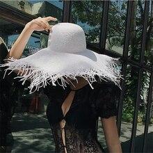 Women Oversized Hat Lager Brim 18-20cm Tassel Beach Hats Foldable Sun Shade Visor Cap ladies White Black Paper Straw Caps цена 2017