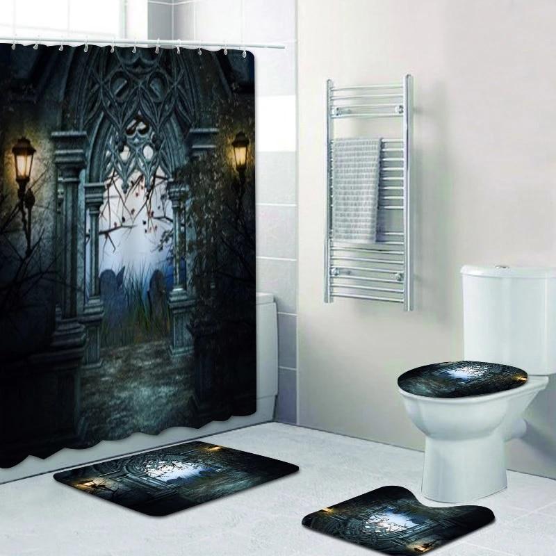 gothic dark graveyard bathroom shower curtain set waterproof curtain with non slip bath rug carpet mat halloween home decor gift