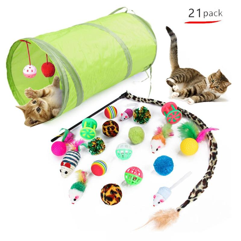 Foldable Funny Pet Cat Tunnel Cats Cave Kitten Stick False Mouse Ball Toys Indoor Outdoor Training Toy Game Pipe Cat Products image