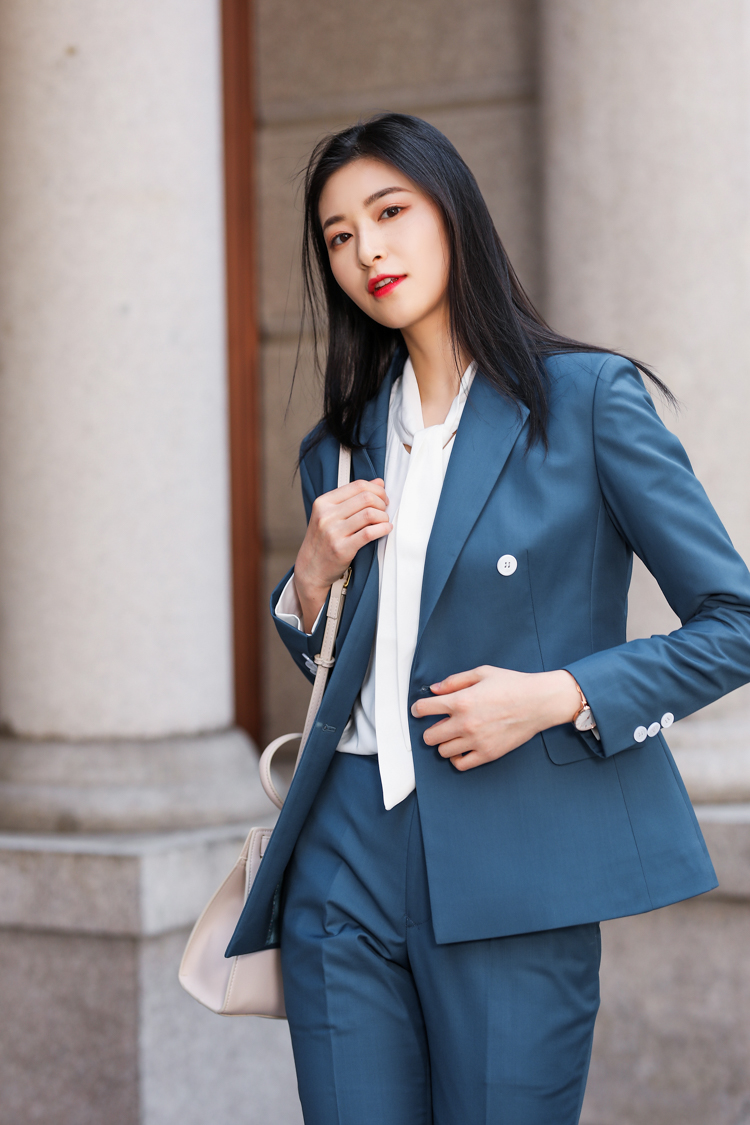 JRHYME Navy Blue Women Casual Suits Set,2 Pieces Set Blazers And Jackets Pants Feminino,Notch Lapel Lady Office Work Attire
