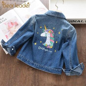Miś lider dziewczyny płaszcze dżinsowe nowy marka jesień dzieci kurtki ubrania kreskówki płaszcz haft odzież dla 3 8Y