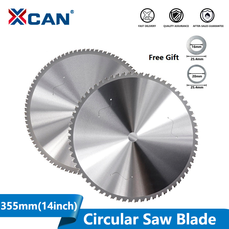 XCAN 1pc 355mm(14 Inch) 66/90 Teeth Circular Saw Blade For Aluminum Iron Steel Metal Cutting Disc Carbide Saw Blade