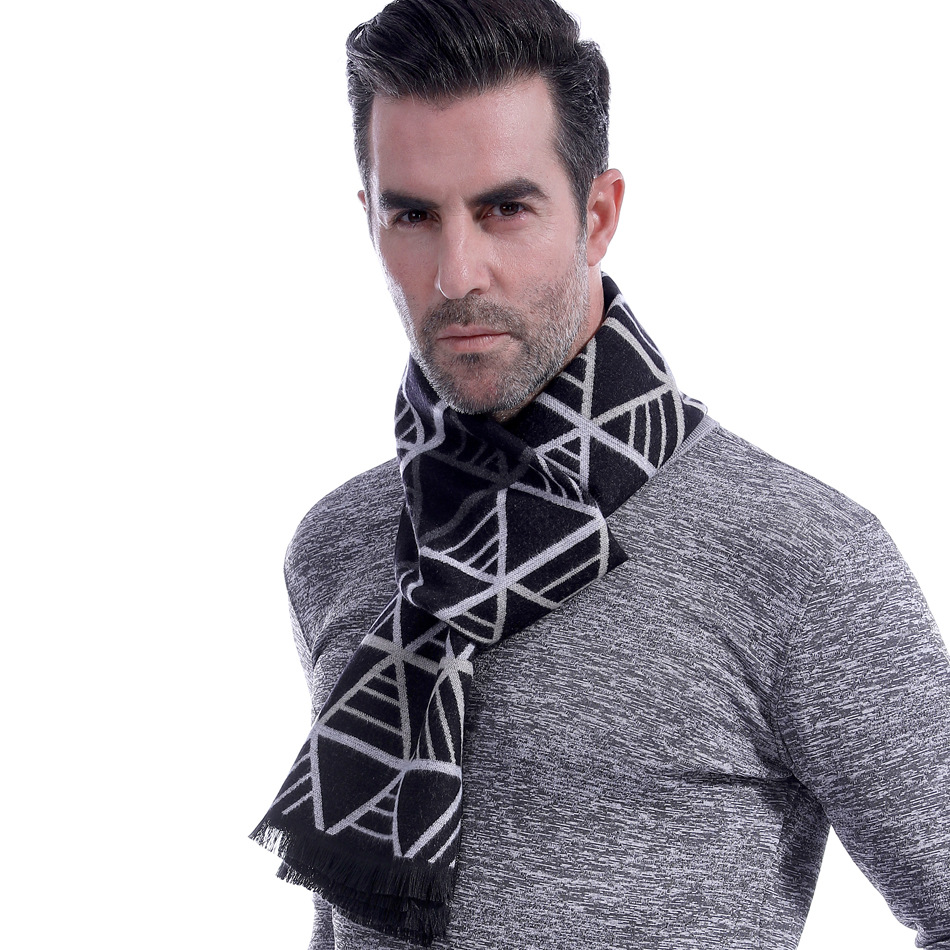 Man Scarf Autumn And Winter New Style Business Casual MEN'S Scarf Middle-aged Woven Nap Triangular Stripes Scarf