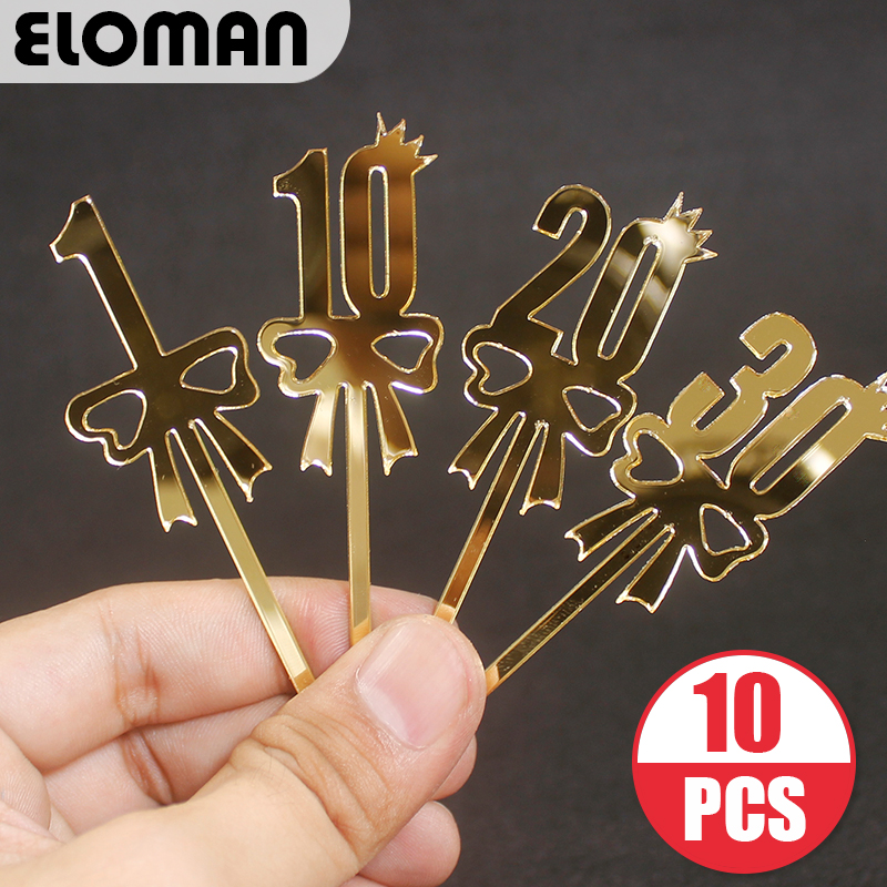 10pc Birthday acrylic cake topper boy girl first birthday party decor for cupcake toppers number1/10/20/30/40/50/60/70/80/90/100(China)