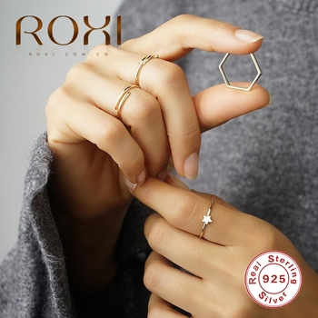 ROXI Simple Line Smooth Open Rings for Women Girls Wedding Party Rings Jewelry Anillos Vintage 925 Sterling Silver Ring Bijoux slovecabin real 925 sterling silver link chain lock finger rings for women vintage napkin wedding rings for women bijoux female
