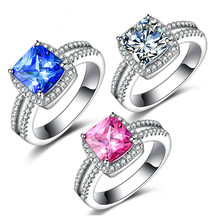 Fashion Blue/Pink/White Diamond Princess Ring Refers To A Square  with Platinum and Four Claws