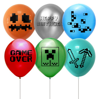 12pcs New Minecraft Balloon Set Party Balloon Set Pixel Game Party Decoration Supplies Miner Player Children's Adult Toy Gifts