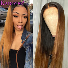 Ombre Brown Lace Front Wig Straight Lace Front Human Hair Wigs Brazilian Remy Hair Wig 13x4 Frontal Wig for Women Pre-Plucked ombre lace front human hair wig for black women colored deep wave wig 13x4 brazilian hair frontal wig pre plucked remy brown wig