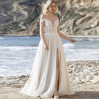 Elegant Off-the-shoulder Boho Wedding Dress vestido de Novia 2020 Dot Tulle Side Slit Bridal Gown Customized casual off the shoulder sheath slit dress