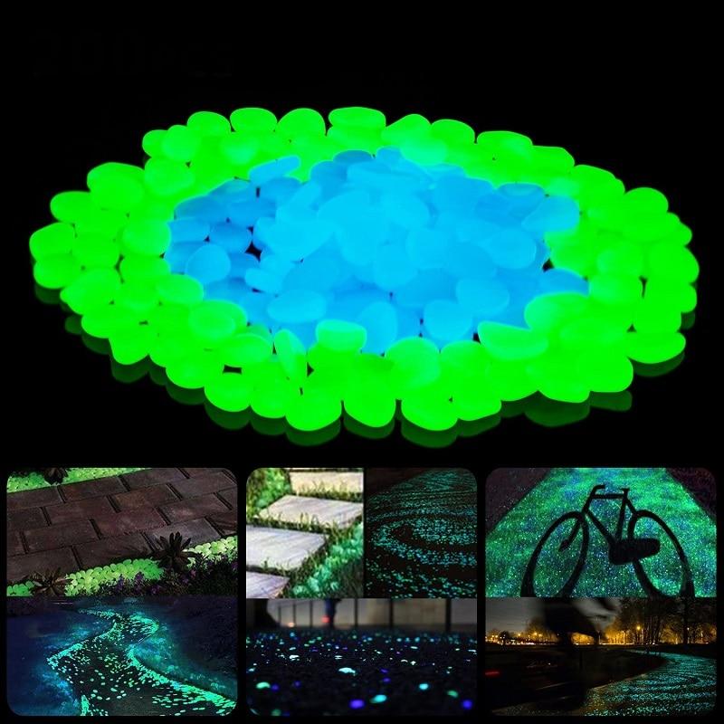 500 pièces jardin lueur dans le noir galets lumineux pour allées plantes Aquarium décor lueur pierres Aquarium jardin décoration