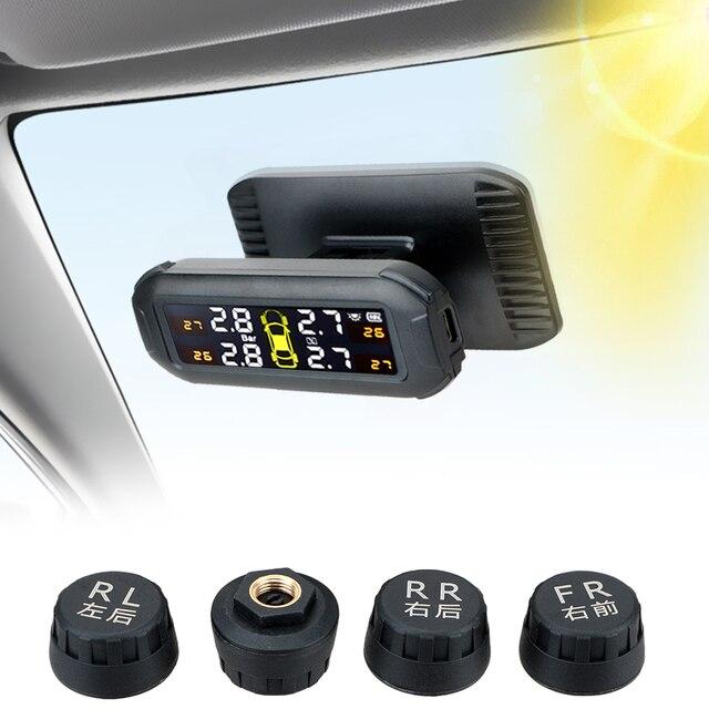 LEEPEE نظام مراقبة ضغط الإطارات الشمسي ، TPMS مع 4 مستشعرات خارجية ، إنذار درجة الحرارة ، توفير الوقود ، مراقبة ضغط إطارات السيارة