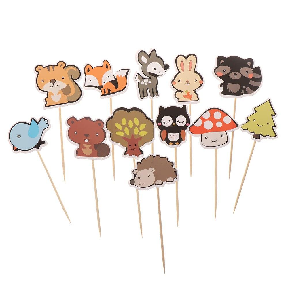 1 упаковка милых бумажных топперов для тортов с изображением леса и животных, темы леса, топперы для кексов, медиаторы для детского дня рожде...