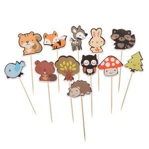 1 упаковка, милые бумажные лесные животные, торты, лесная тема, кексы, пики, дети, день рождения, свадьба, вечеринка, Декор