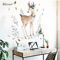 Наклейки на стену с изображением оленя  животных  милое украшение для гостиной  сделай сам  съемная Наклейка на стену  домашний декор  QT289