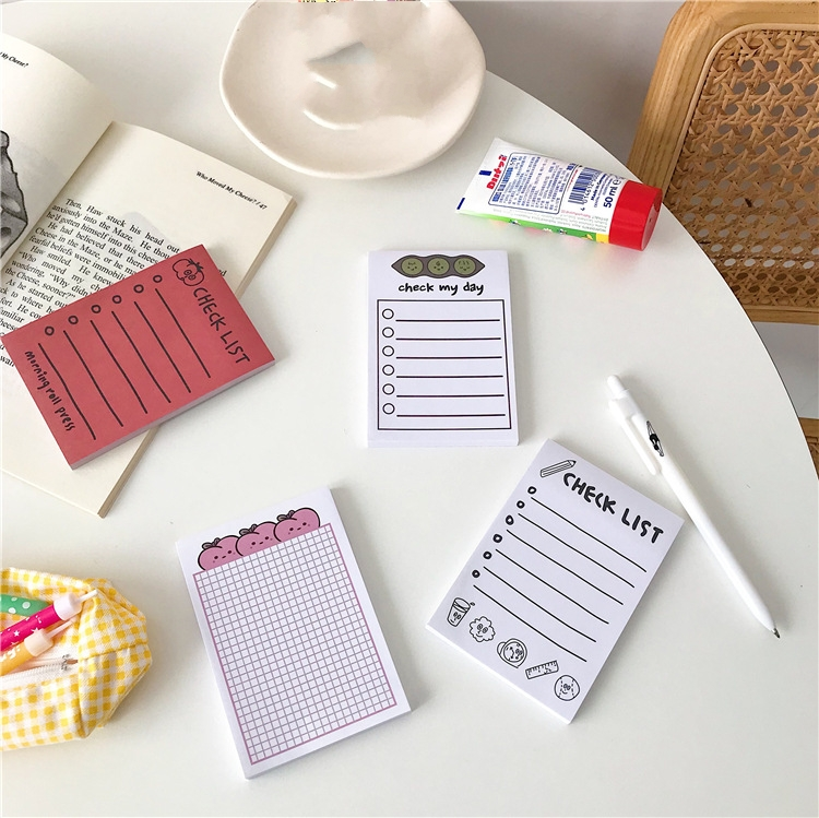 50Pages/Lot Kawaii Korean INS Cute Pea Pumpkin Peach Memo Pad N Times Sticky Notes Portable Notepad School Office Supply