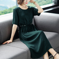 Fashion Summer Loose Lady Dress Solid Round Neck Short Sleeve Mid Calf Plus Size Party Dress Vintage A Line Sashes Pearl Dress