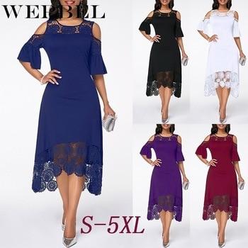 Women Plus Size Summer Lace Floral Dress Ladies Short Ruffles Sleeve Off Cold Shoulder O Neck Party Dress Long Maxi Dress 5XL 1