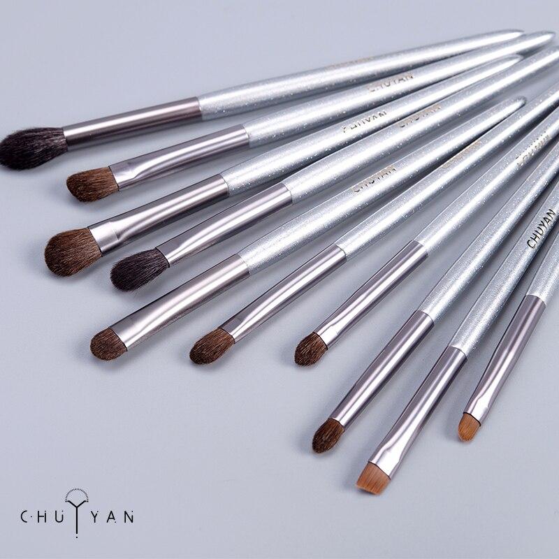 CHUYAN makeup Brushes set 10PCS Eyeshadow Blending Eyelash Eyeliner soft Professional Brush Synthetic Hair