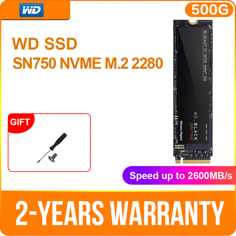 Western Digital WD BLACK SSD SN750 250GB 500GB 1TB NVMe Internal Gaming SSD-Gen3 PCIe, M.2 2280, 3D NAND for Gaming PC Laptop image