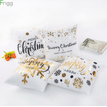 купить 45x45cm Cotton Linen Merry Christmas Cover Cushion Christmas Decor for Home Happy New Year Decor Christmas Decoration Xmas Gifts дешево