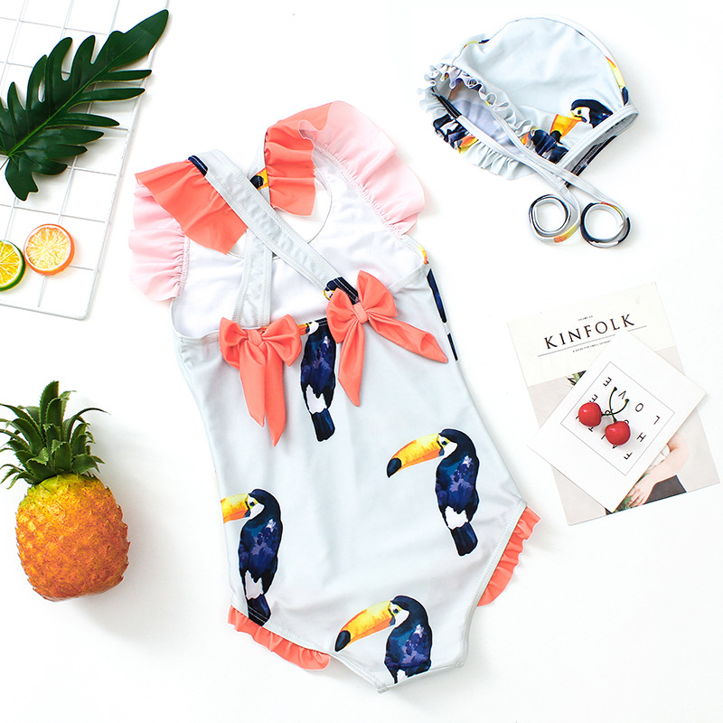 One-piece Swimming Suit Parrot Printed CHILDREN'S Swimwear CHILDREN'S Small CHILDREN'S GIRL'S With Swim Cap With Small GIRL'S Sw