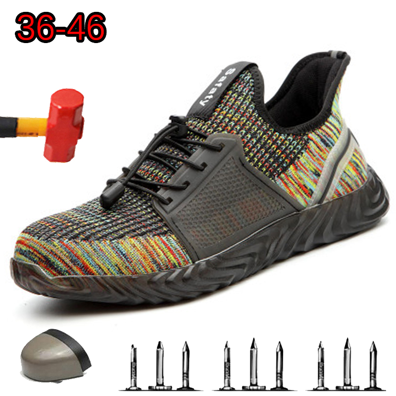 Men Safety Shoes With Steel Toe Puncture Proof Wear-resistant And Non-slip Breathable Summer Comfortable Outdoor Construction Wo