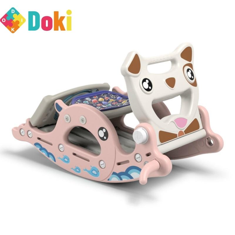 Rocking Horse Slide Dual-Purpose Children's Toys Baby Slide Ferrule Multi-Function Ride Toy Horse Kids Rocking Chair Doki Toy