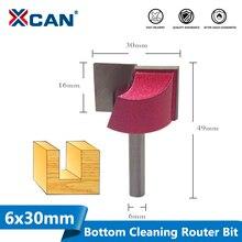 XCAN 1pc 30 millimetri Inferiore di Pulizia Incisione Bit 6 millimetri Gambo In Legno Punte del Router di CNC di Fresatura Cutter Lavorazione Del Legno Guarnizioni