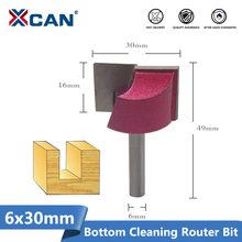 XCAN 1pc 30mm Bottom Cleaning Engraving Bits 6mm Shank Wood Router Bits CNC Milling Cutter Woodworking Trimming