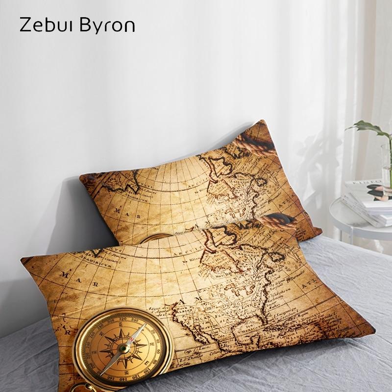 3D Pillowcase Pillow Case Custom/50x70/50x75/50x80/70x70 Decorative Pillow Cover vintage map Bedding Drop Ship|Pillow Case| |  - title=
