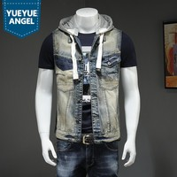 Men Hooded Detachable Vintage Denim Vest Men Street Single Breasted Cowboy Short Waistcoat College Casual Sleeveless Jacket