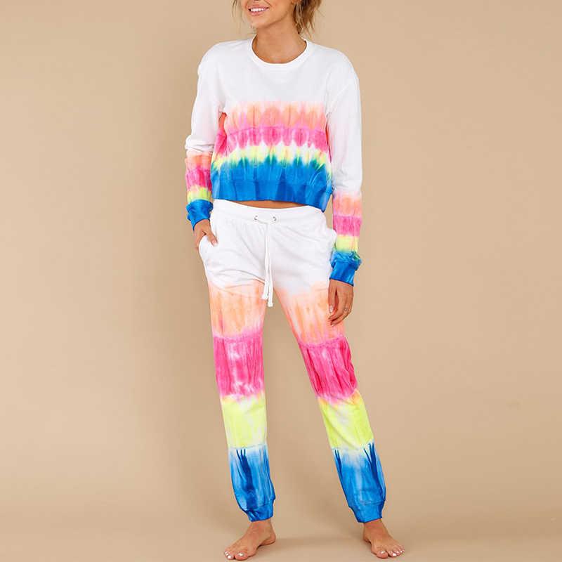 女性パジャマセットネクタイ染料カラーレースアップパンツ女性フルスリーブoネックストライプパンツホームウェア女性カジュアルソフトホームセット