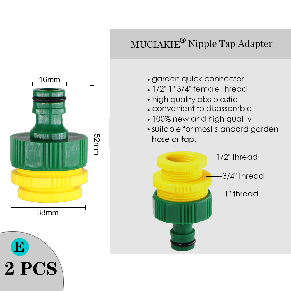 """Hc4e69731ab9b415aaf9d24d7bb45ae58M MUCIAKIE Variety Style Garden Tap 1/2"""" 3/4"""" Male Female Thread Nipple Joint 1/4"""" Hose Quick Connector Irrigation Water Splitters"""