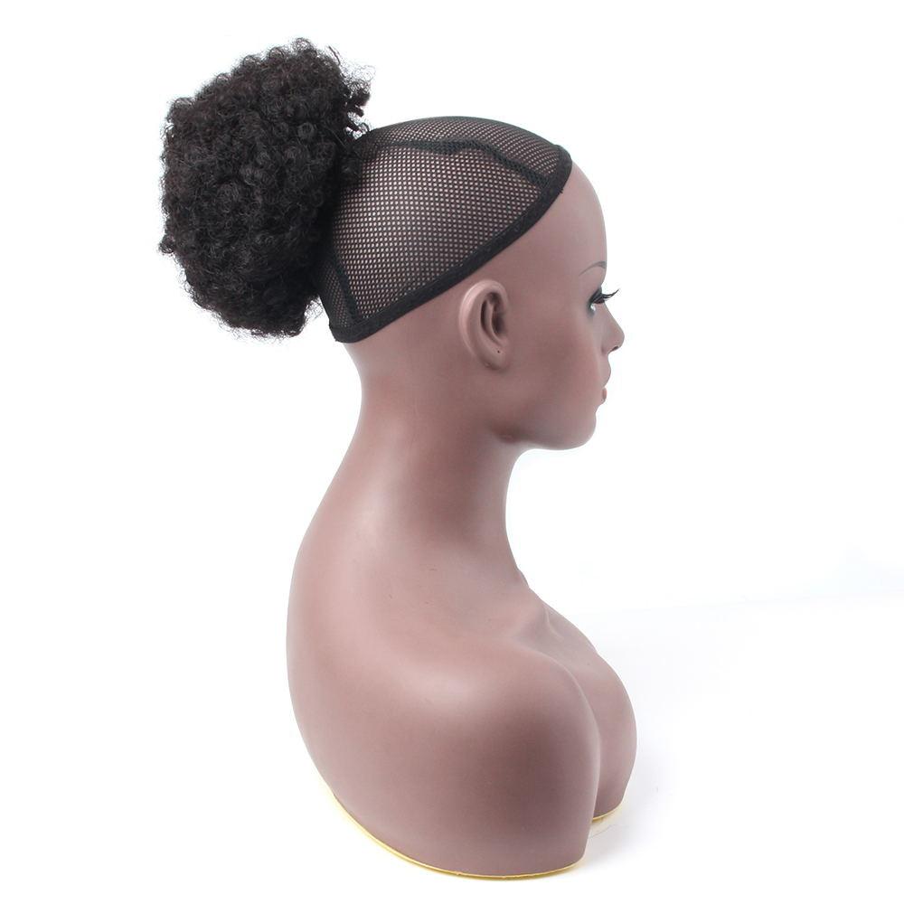 Бразильские конский хвост человеческие волосы монгольские афро кудрявые конский хвост Remy 4B 4C клип в наращивание пряди натуральных волос черные волосы