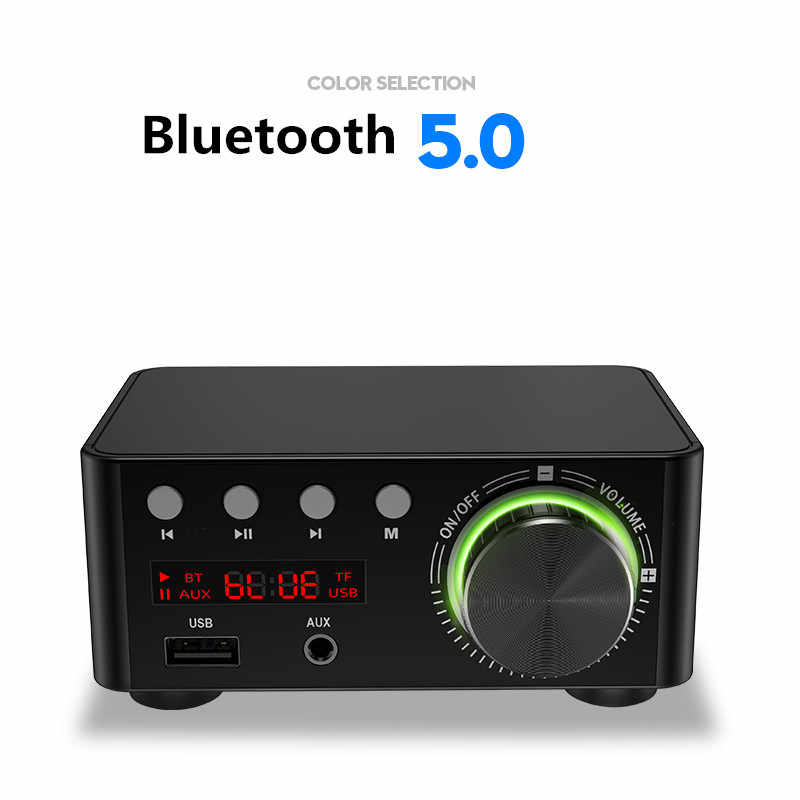 NEW 50W *2 Mini Class D Stereo Bluetooth 5.0 TPA3116 Digital Power Amplifier TF 3.5mm USB Input Hifi Audio Home AMP For Mobile