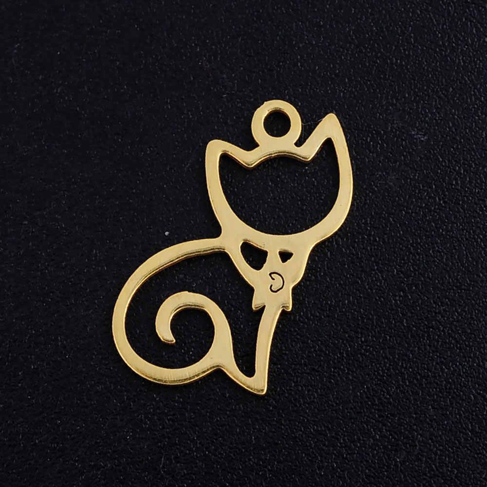 5 Buah/Banyak Lucu Kitty Cat Stainless Steel Perhiasan Liontin DIY Hiasan Grosir Tidak Pernah Menodai Tinggi Dipoles Pesanan OEM Diterima