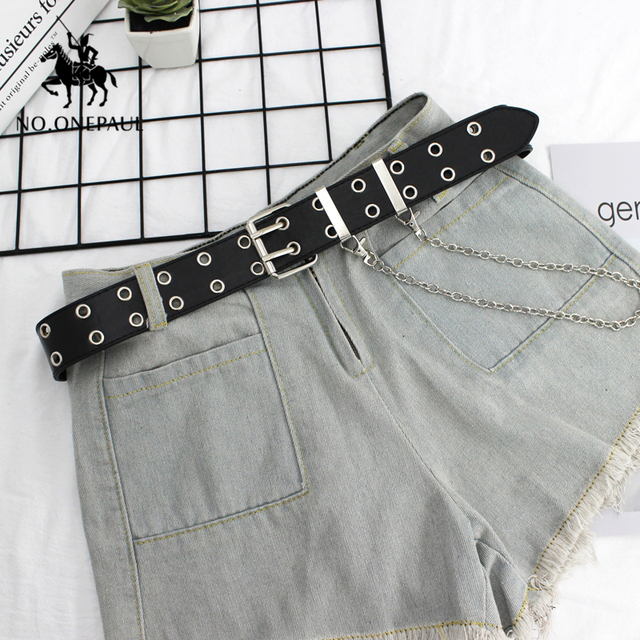 Genuine Leather New Punk style fashion Pin Buckle Decorative Chain luxury brand belts for women 2