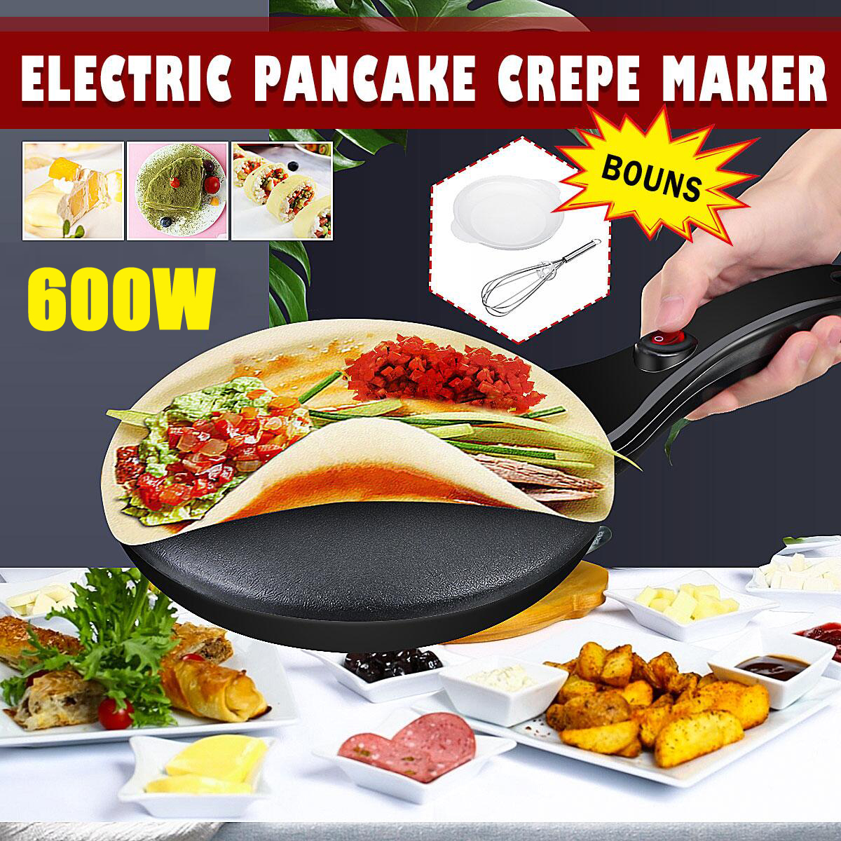 Portable Household Non-Stick Crepe Maker Pan Electric Pancake Cake 220V 600W Machine Frying Griddle Kitchen Baking Tools