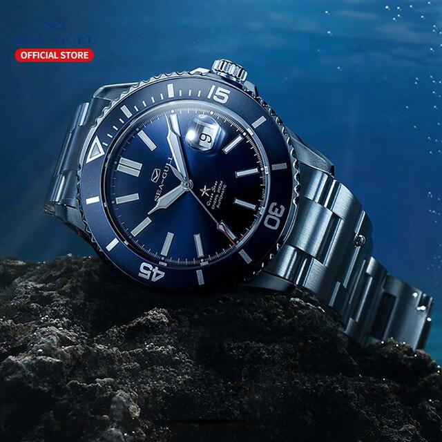Seagull relógios mecânicos automáticos masculino fashions relógio de negócios safira sintética cristal 200m à prova de água relógio 816.523 4